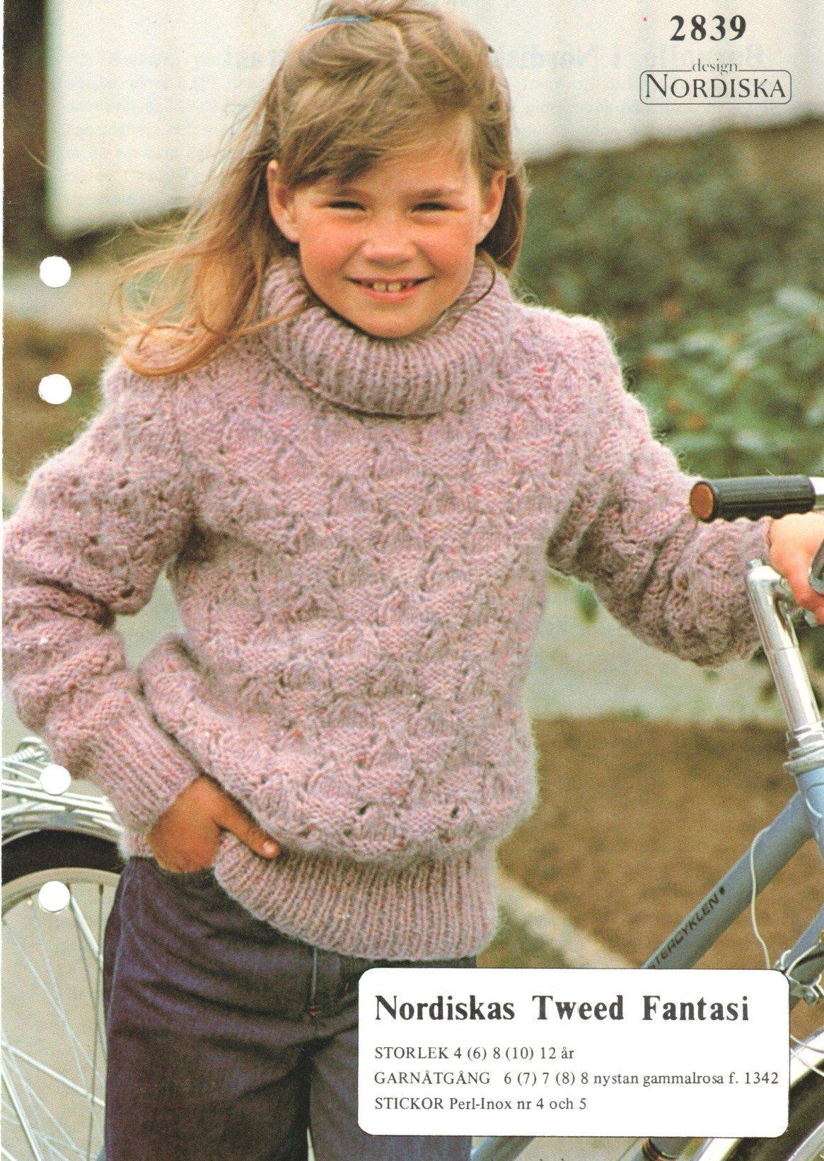 Stickmönster. Barntröjatjocktröja, storlek 4 12 år (ej färdigstickad tröja)