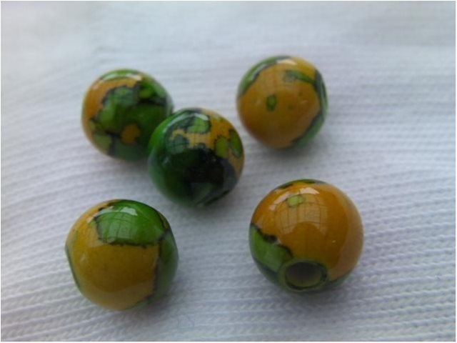 Spray-Painted Acrylic Beads Round Orange 10mm ** 20 st **  Orange/grön