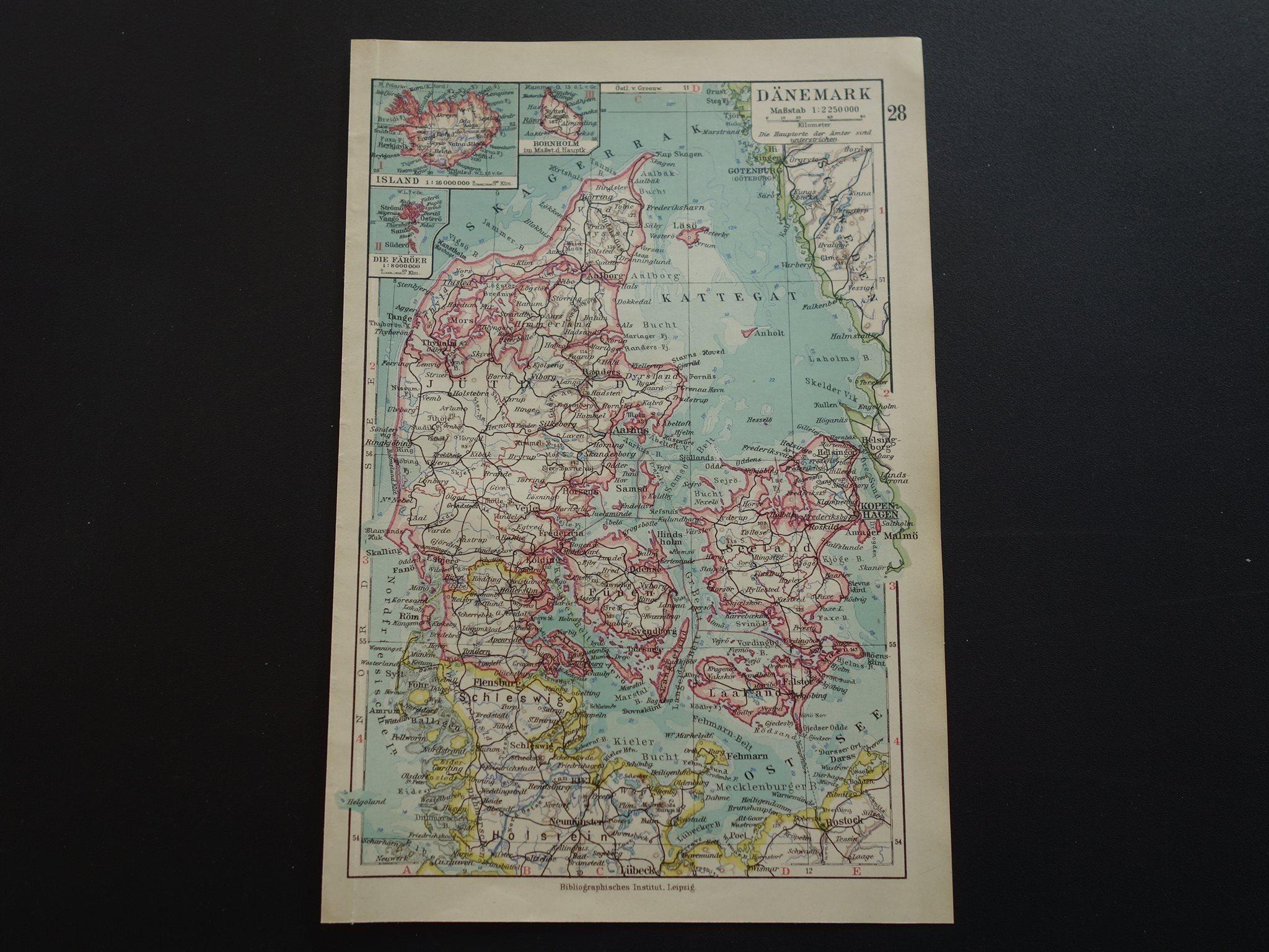 Karta Sodra Danmark.1926 Antik Gammal Karta Over Danmark Denmark 24 348333095 ᐈ Kop