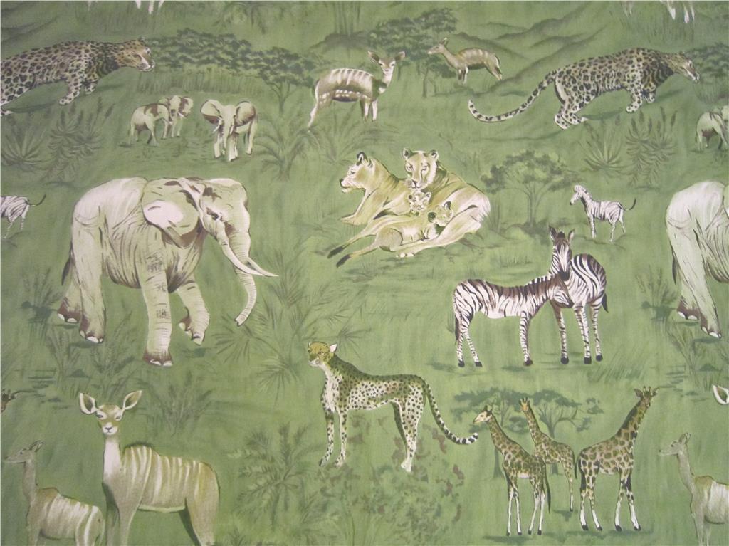 Gardiner med elefanter, zebra, giraffer etc 108x170 cm på Tradera.com