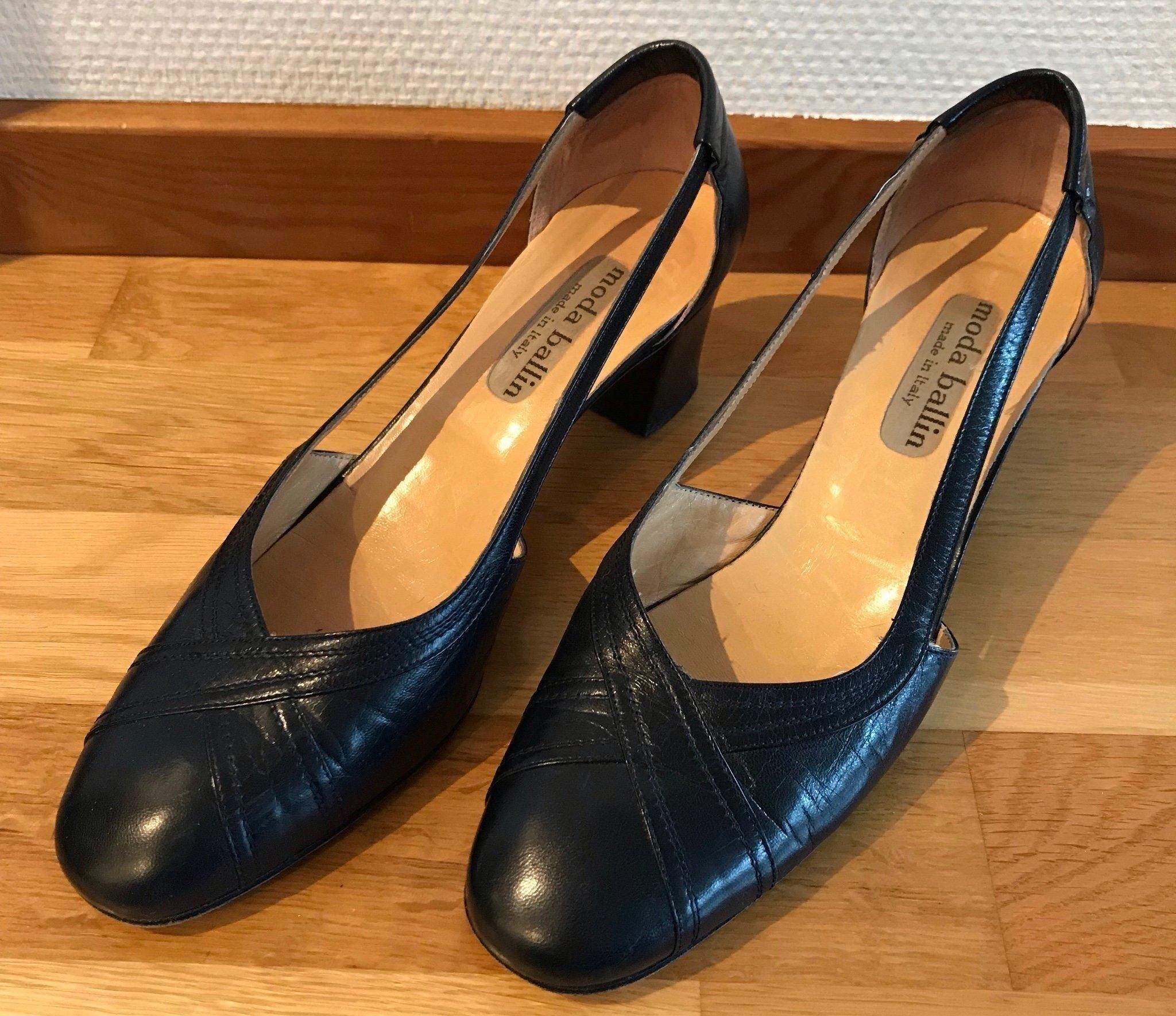 Vintage Italienska skor med klack, blått läder,.. (352140743