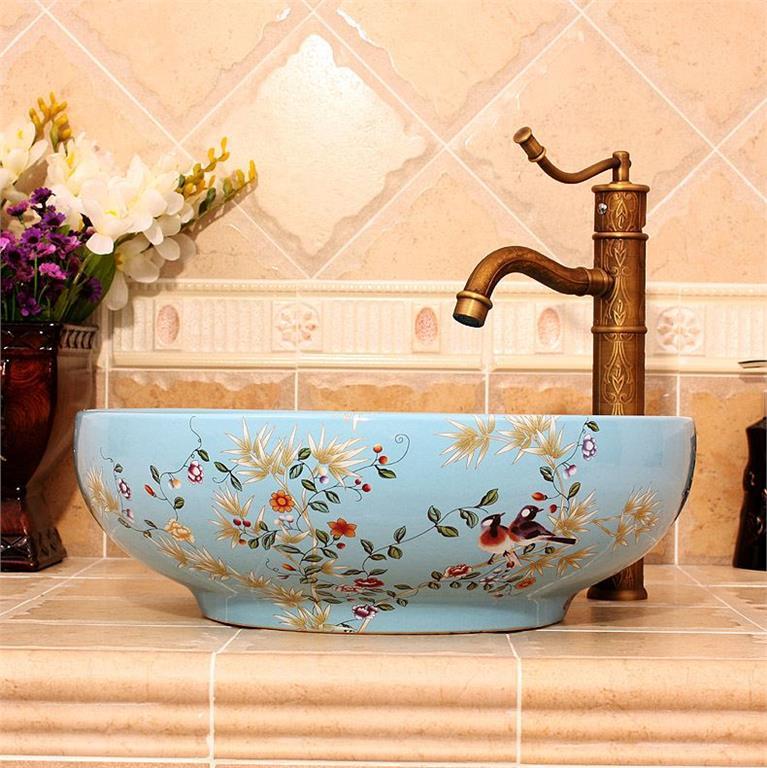 Blommig Blommig Blommig handfat tvättställ med badrumskran lantlig fåglar blå 6a38d8