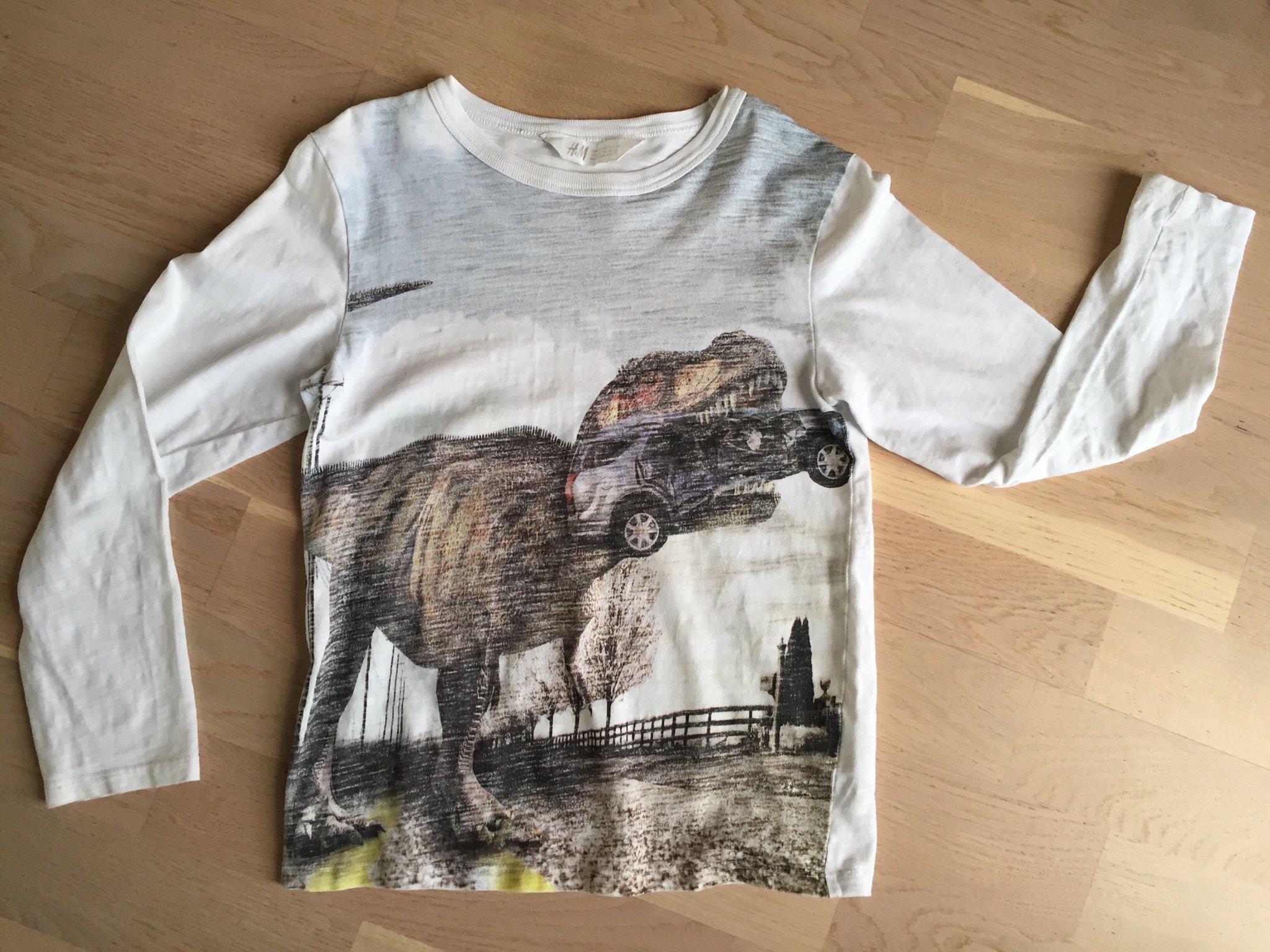 Vit långärmad T shirt med dinosaurie 122128