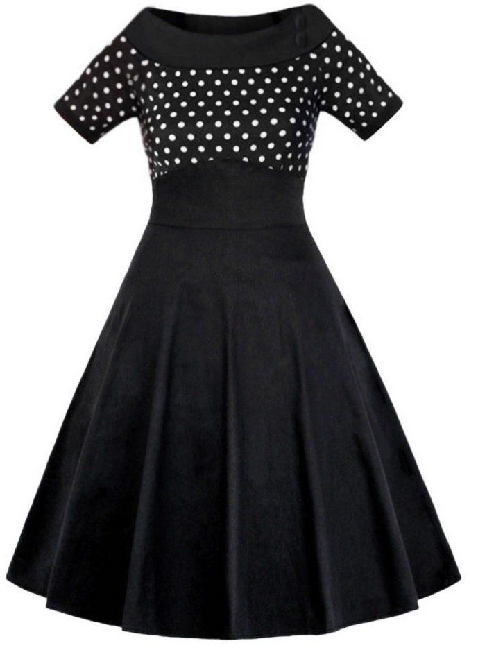 bad7d52779ae Vintage Klänning 50 tal Rockabilly Swing Punk Stretch Retro Prickar 48 50  ...