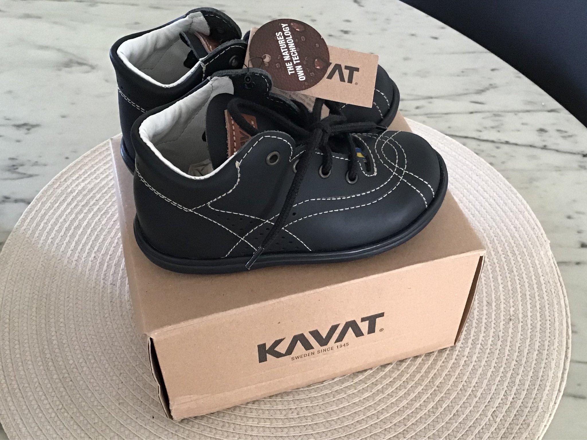 NYA i kartong KAVAT Edsbro XC Skor Svart läder skor kängor märkes lyx boots 24