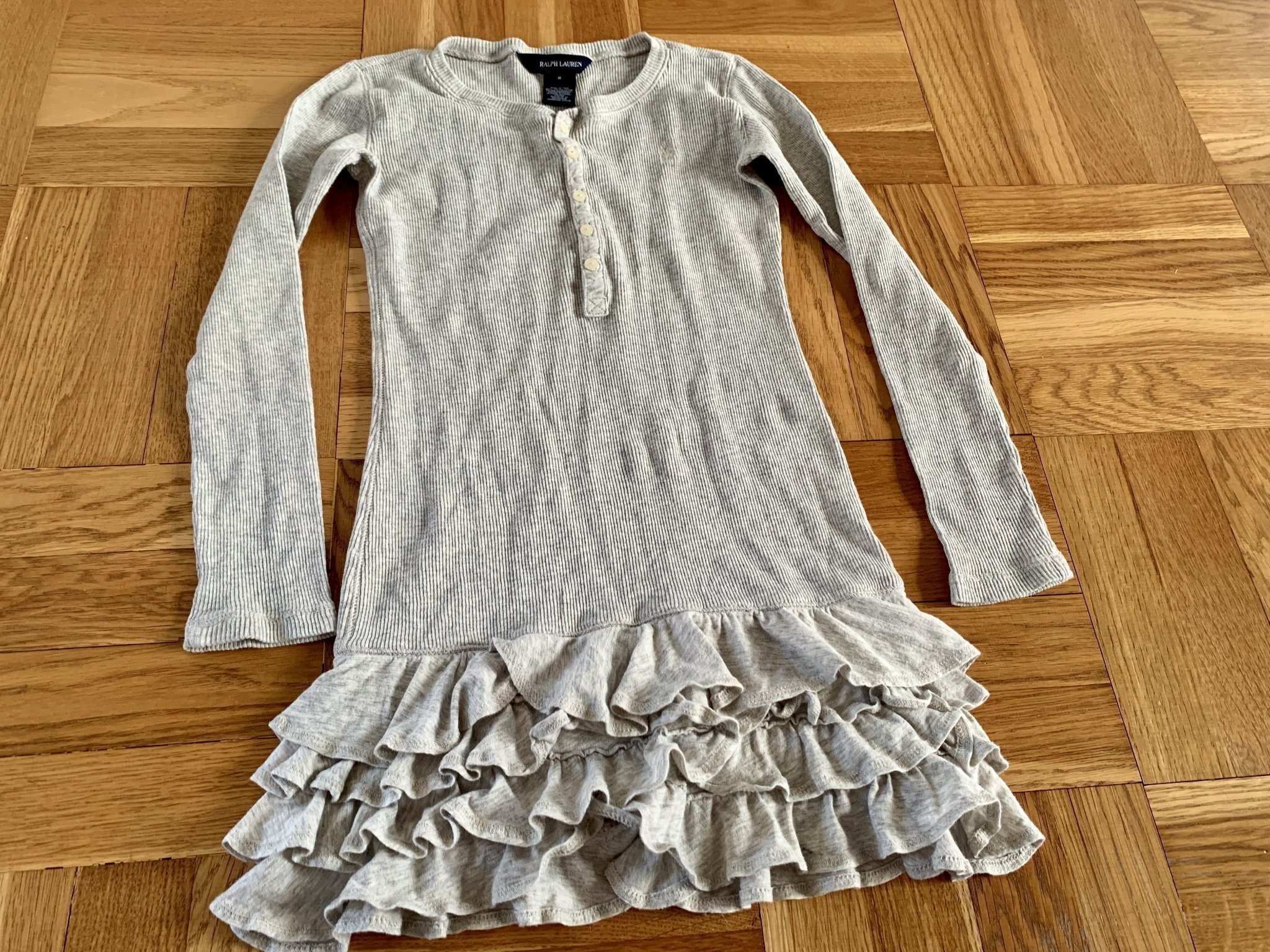 db1d4ce524fe Palph Lauren klänning grå trikå 116 / 122 bomull tunika långärmad sommar ...