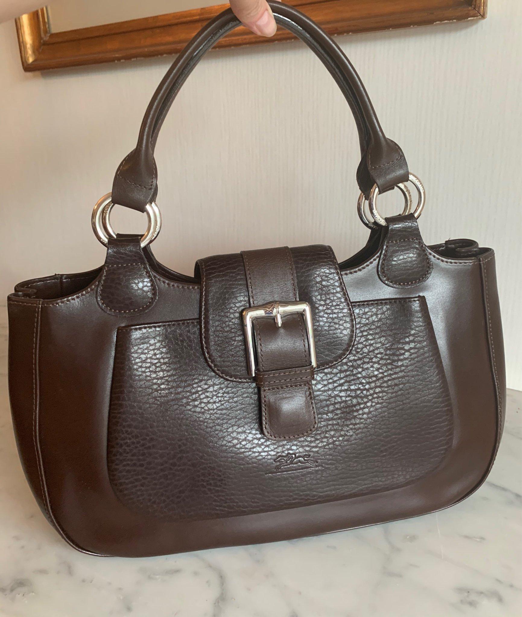 LONGCHAMP väska i brunt skinn