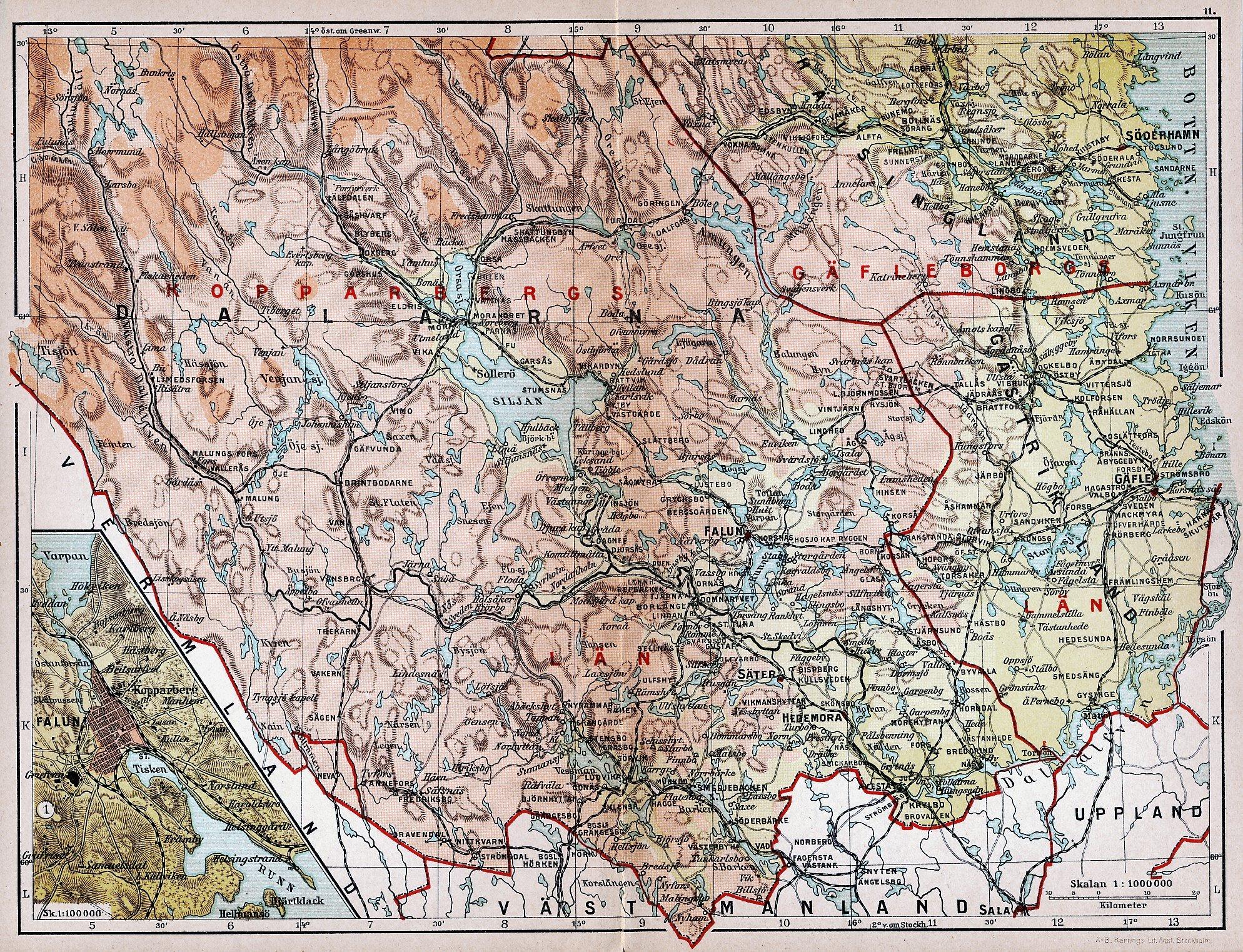 Falun Dalarna Halsingland 1904 Orig Karta So 373655458 ᐈ