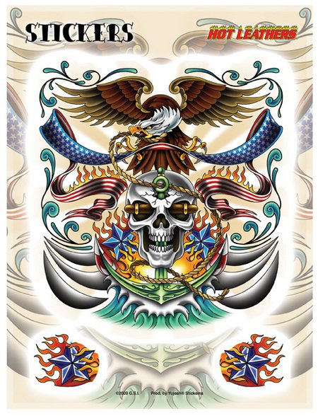 bae1ae3704534 Hot Leathers Nautical Tattoo Biker 3 st D.. (351331443) ᐈ Butiq på ...