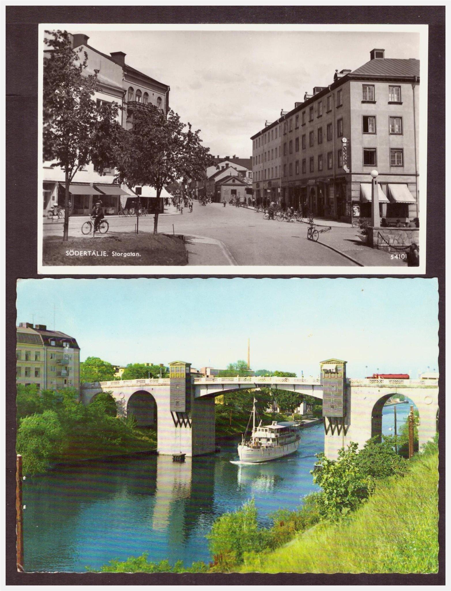 Södertälje. 4 st vykort. Storgatan, Klaffbron ...