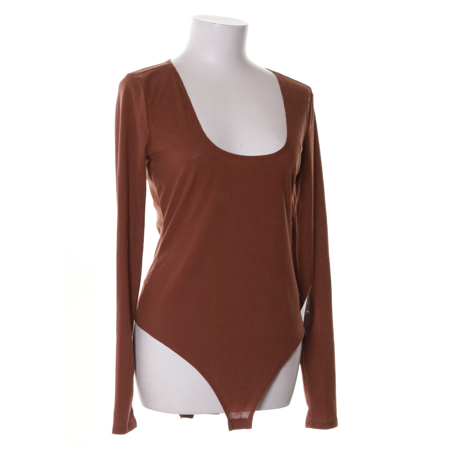 NLY One, Body, Strl: L, Rib Scoop Body, Brun, Polyester/Elastan