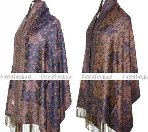 Vändbar pashmina sjal halsduk i mörkblått & beige