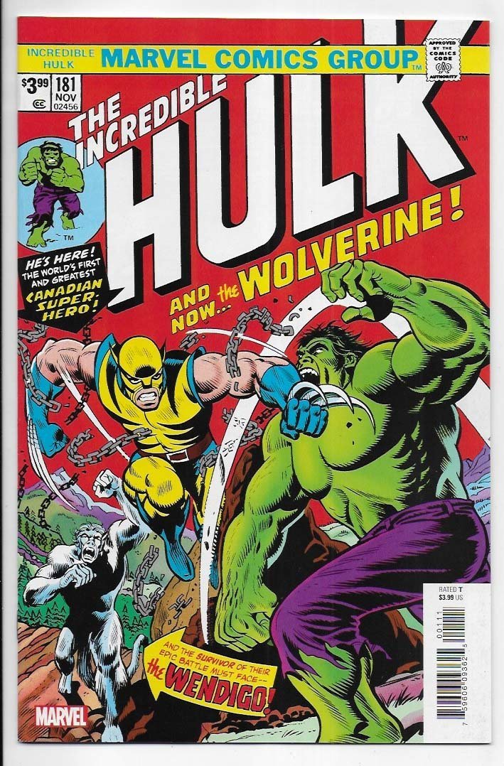 Incredible Hulk # 181 Facsimile Edition VF-NM Ny Import 1st Wolverine