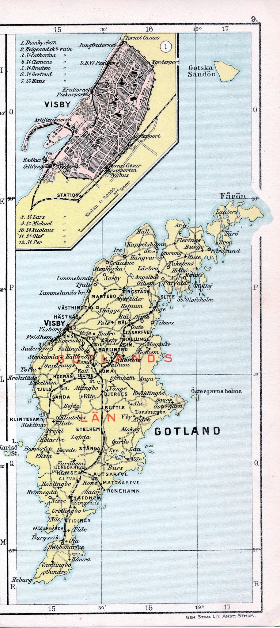 Visby Gotland 1913 Orig Karta Burgsvik Roneha 389606251 ᐈ