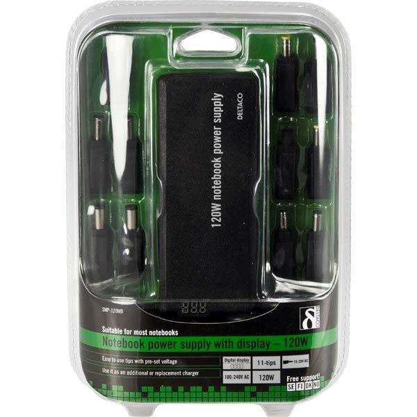 DELTACO laddare för notebook, 15 20V 8A 120W LED display, svart