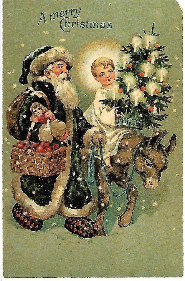 923931cc A Merry Christmas Barn Julgran Snö Julklappar Tomte Julkort Gammeldags Jul  USA ...
