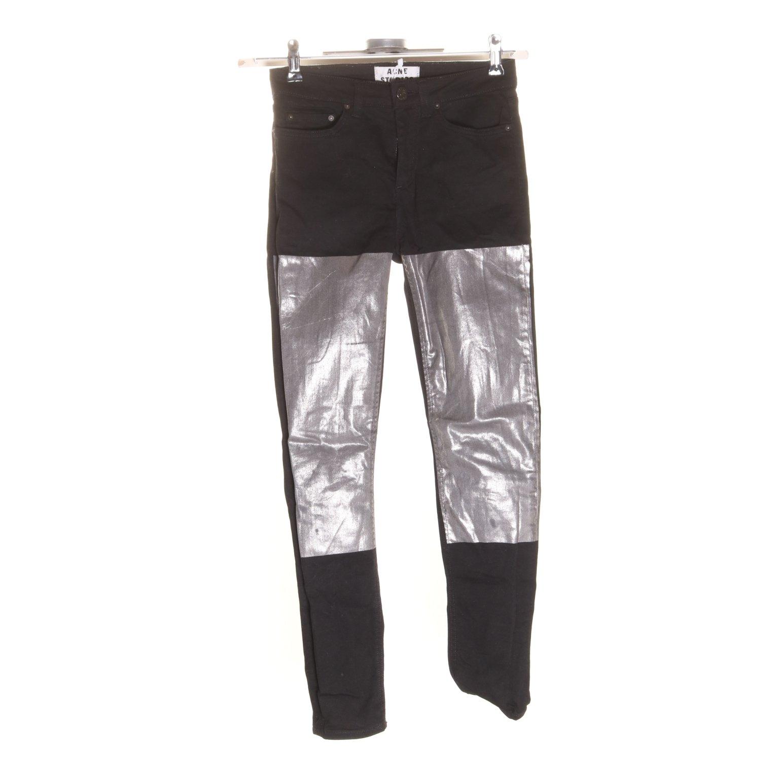 Acne Studios, Jeans, Strl: W25 L32, Skin 5 Black Foil, SvartSilverfärgad