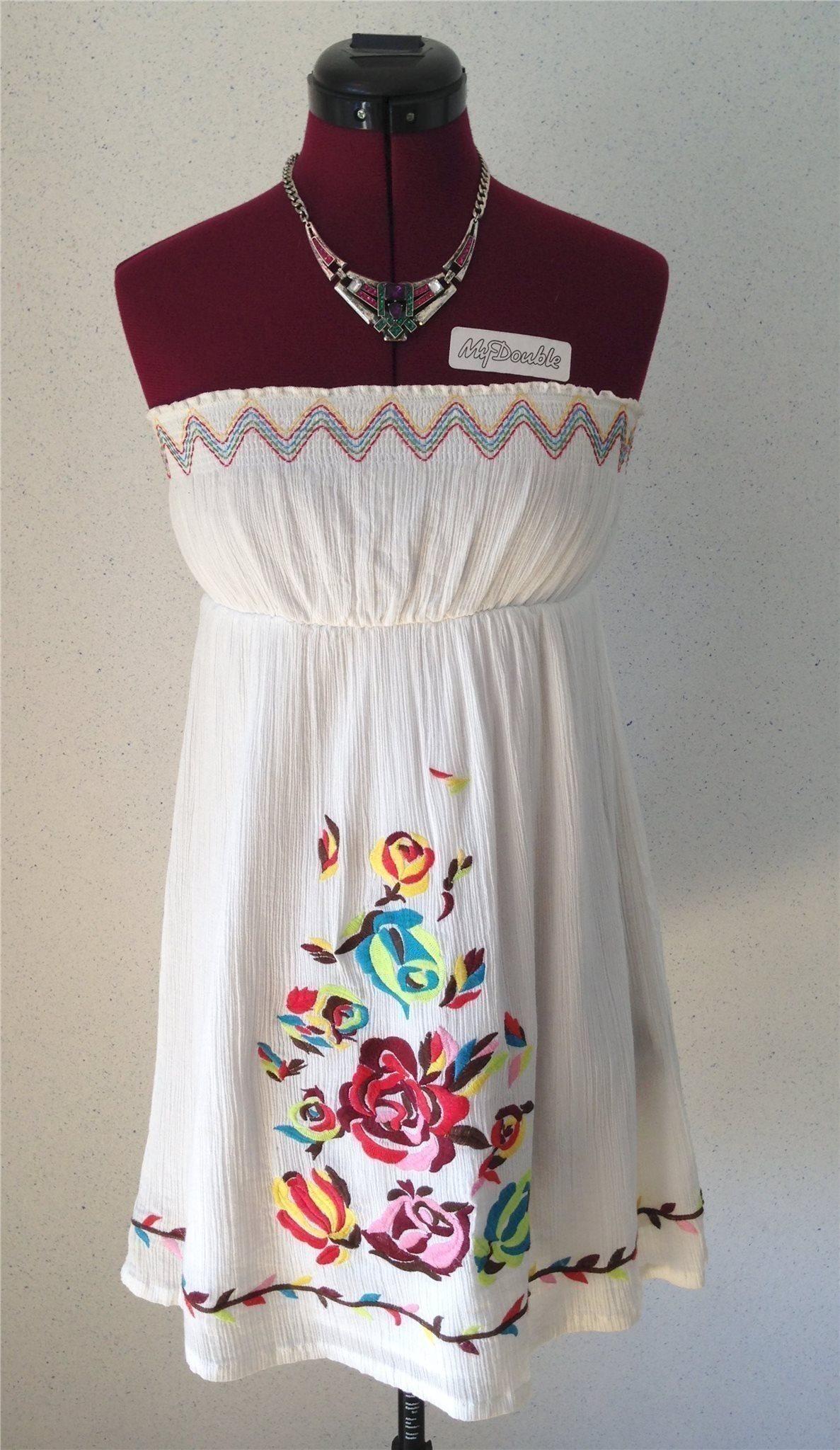 4702e2a74cf0 Forever21 klänning, vit med broderade blommor, .. (343288158) ᐈ Köp ...