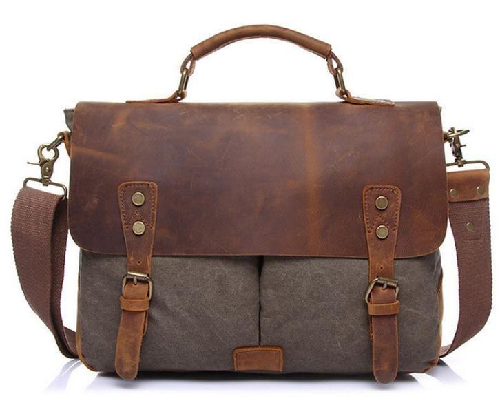 Läder + målarduk Messenger Bag  . Army Grön