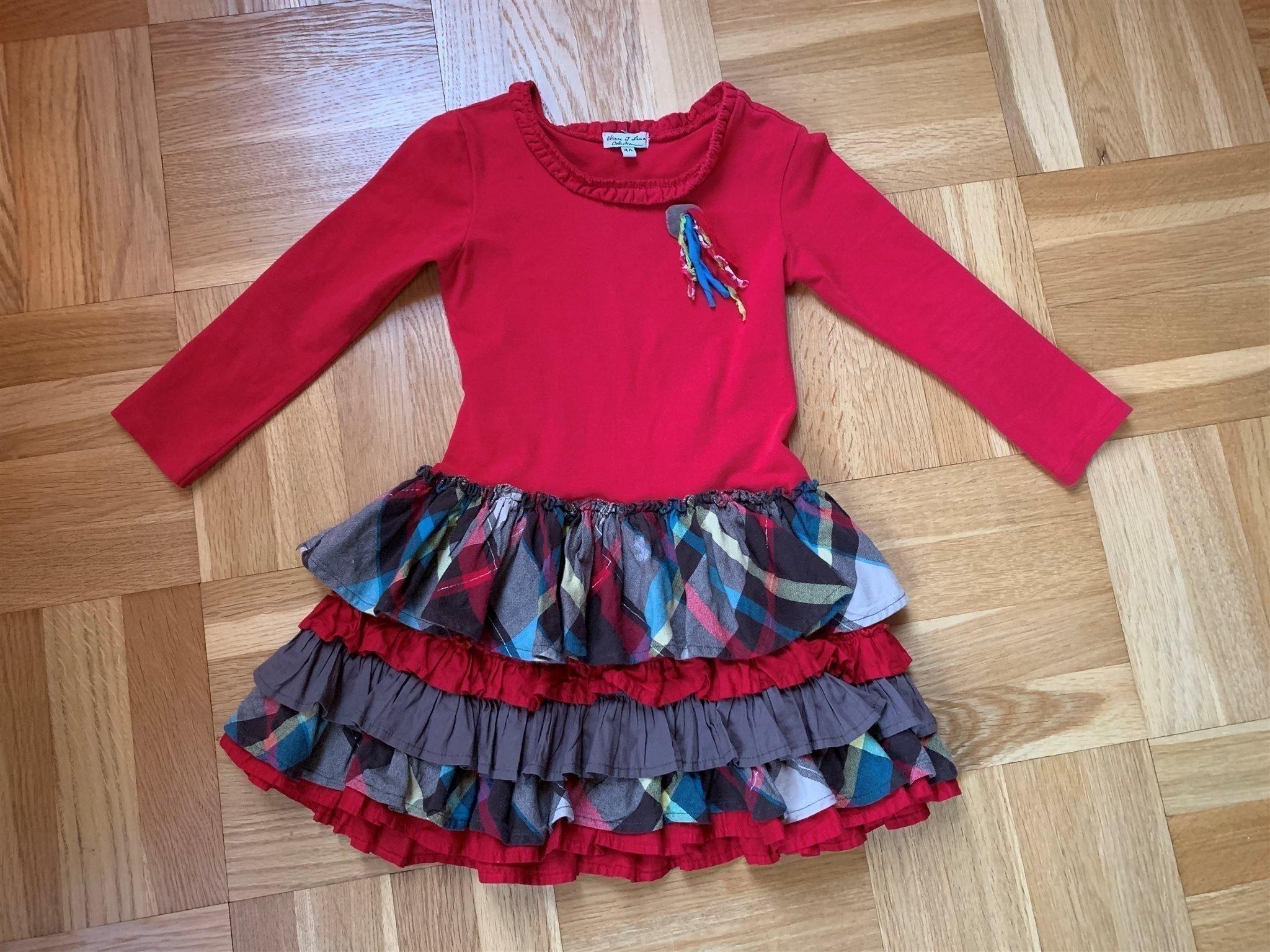 70c40f31a78e Så söt klänning 104 röd fest volang bomull kala.. (347232450) ᐈ Köp ...