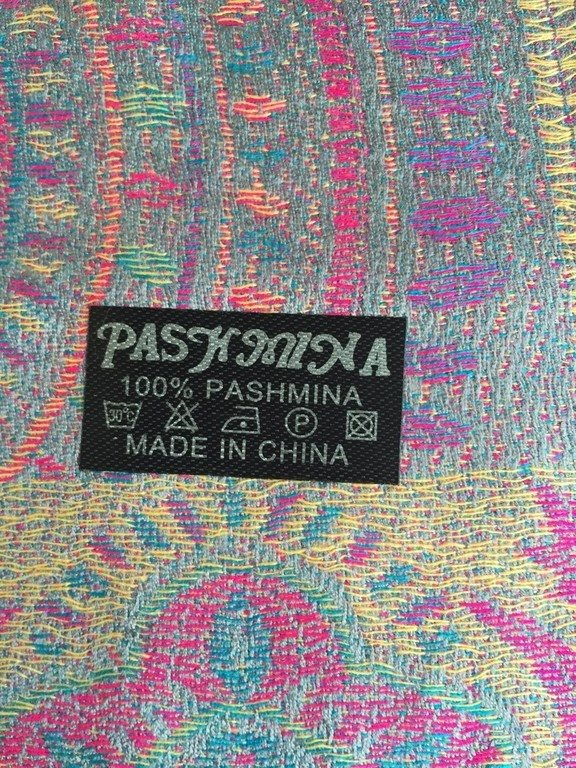 Sjal  100 % Pashmina gröna toner m vinröda inslag