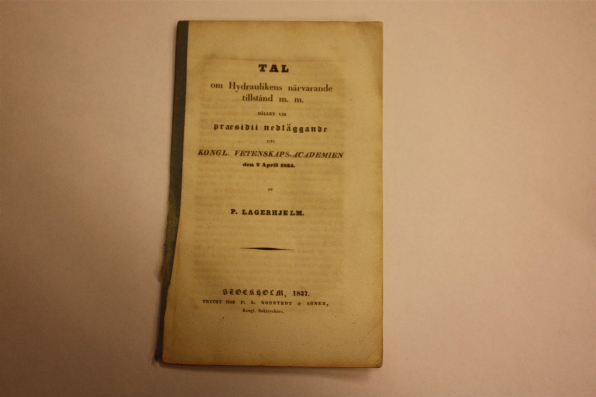 Tal hållet hållet hållet i vetenskapsacademien 1834 e66bf8