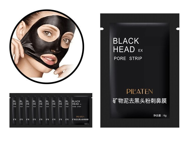 Svart ansiktsmask pilaten 10-PACK Black Head mask