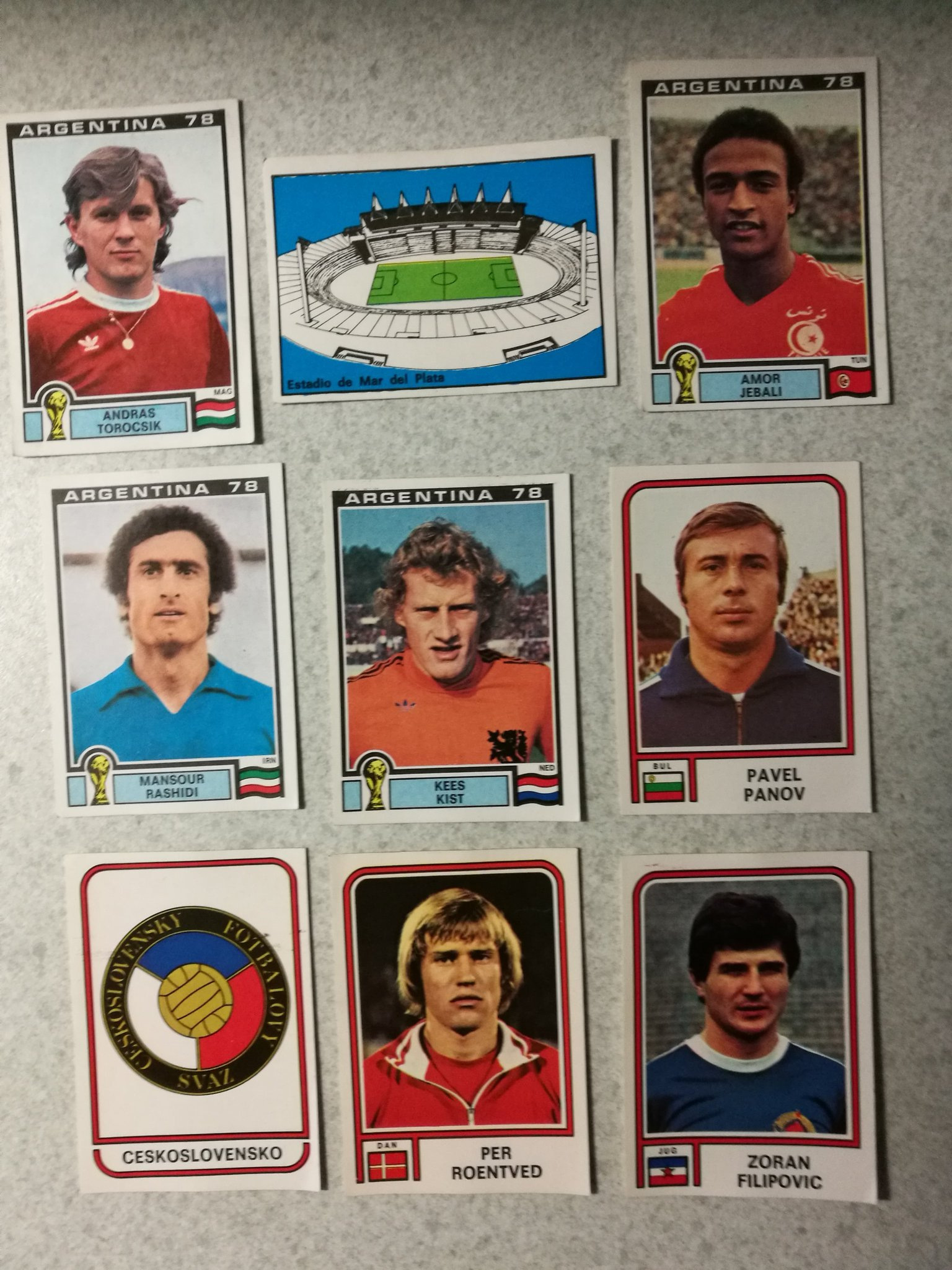 Figurine Panini ARGENTINA 78 VM 1978 World Cup, 9 olika stickers collectors card