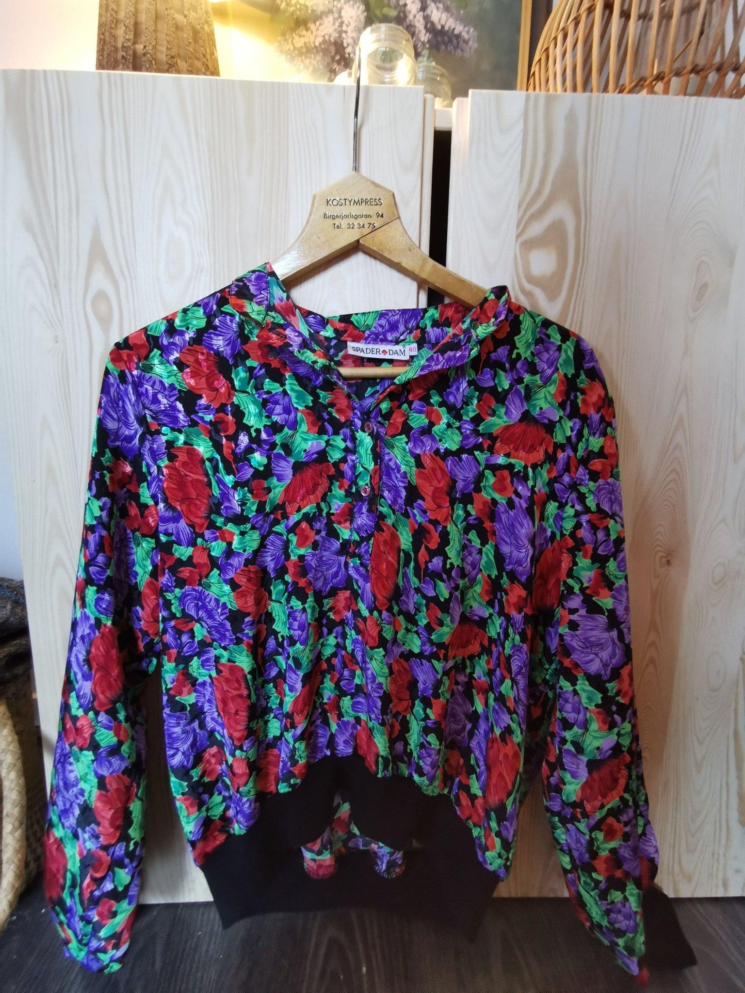 Vintage 80 tal 90 tal mönstrad blus retro vintagemode orange röd lila grön S M
