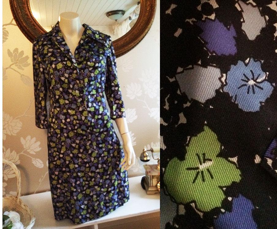 Vintage retro 60 tals party klänning syntet lila grön turkos