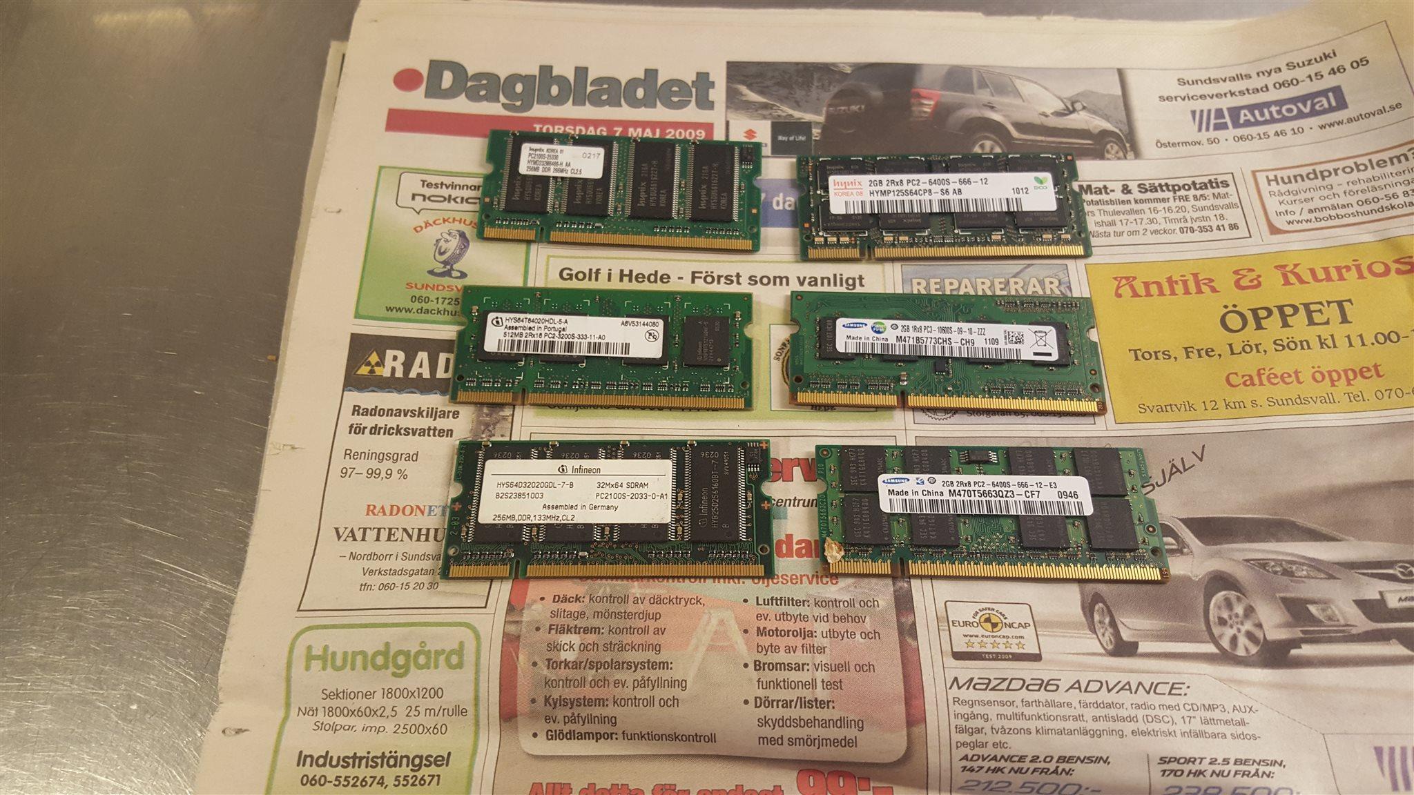 Ram Minnen Till Laptops So Dimm Ddr Ddr2 Ddr3 B 313099131 Kp Sodimm 2gb Laptop Pc6400 Blandat