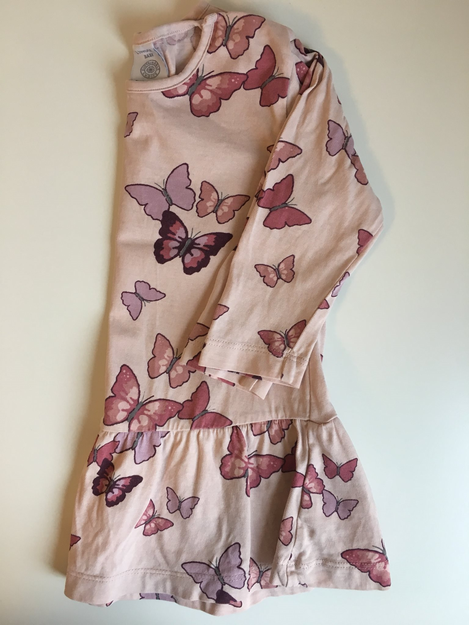 Rosa tunika med fjärilar i strl 80 från Lindex baby! Klänning tröja flicka 31e8ebc2eff2f