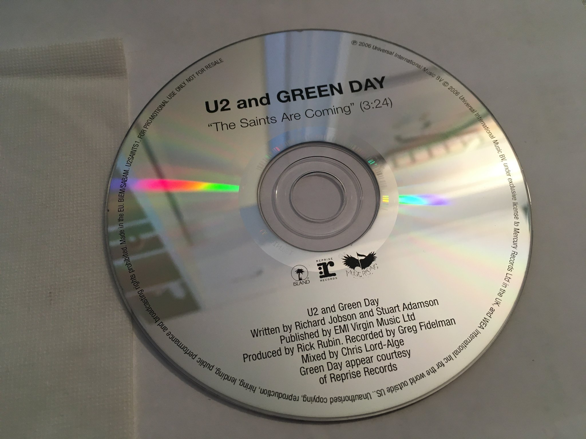 Green Day & U2 - The Saints Are Coming - CD-Singel Promo