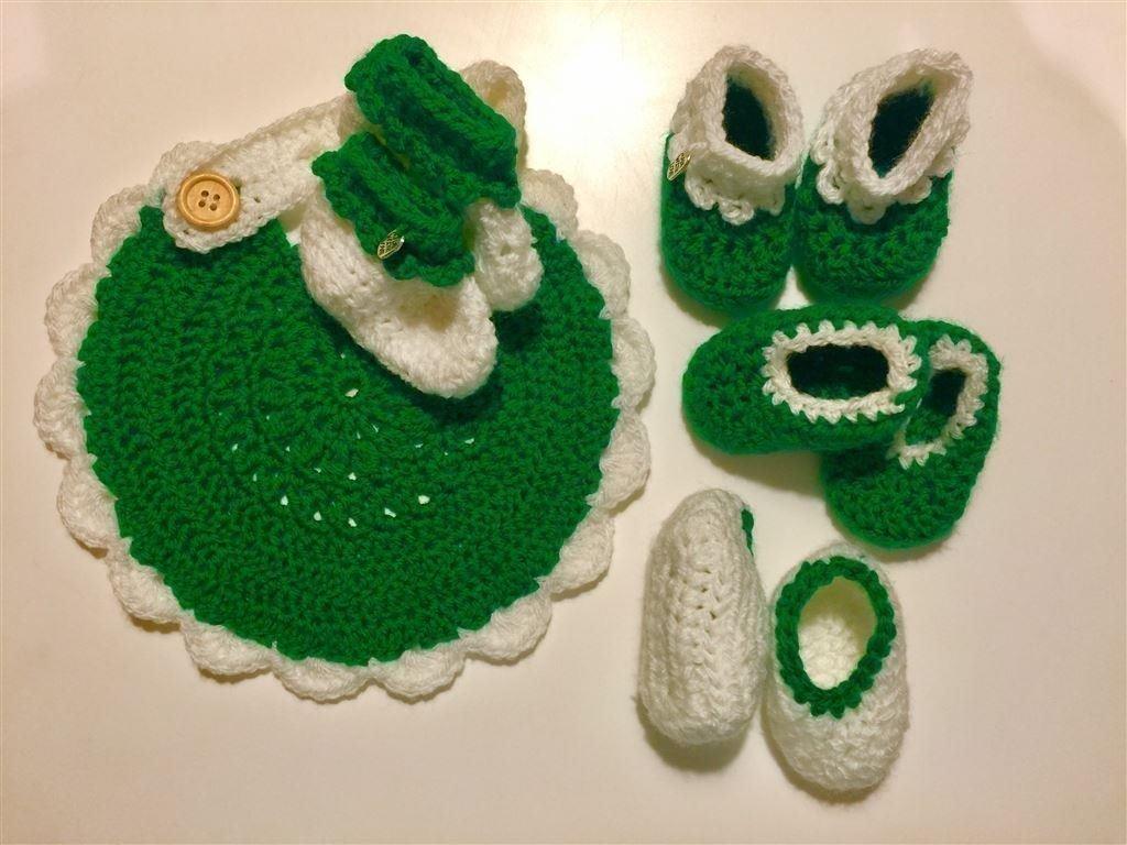 Virkad grön/vit tossor och dreggis paket (405545195) ᐈ Köp ...