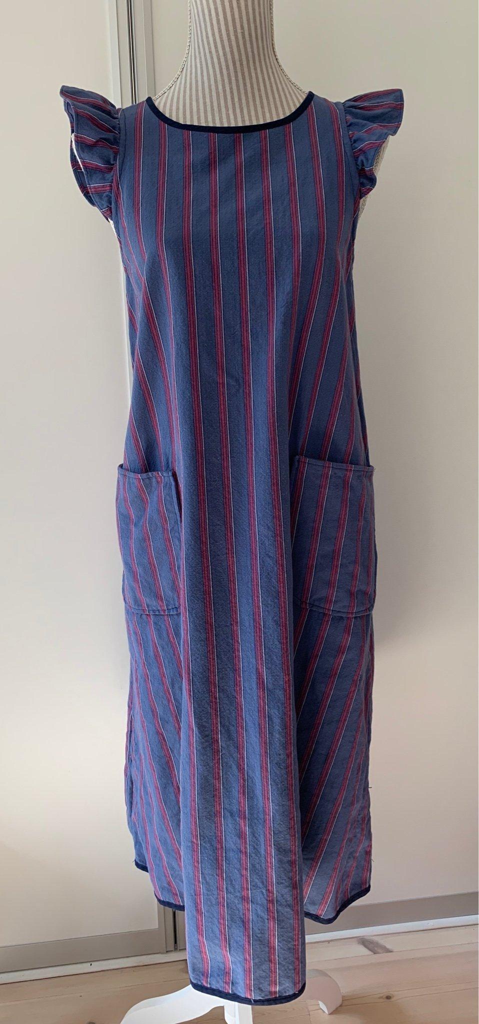 Vintage retro förklädes klänning sommarklänning röd bomull