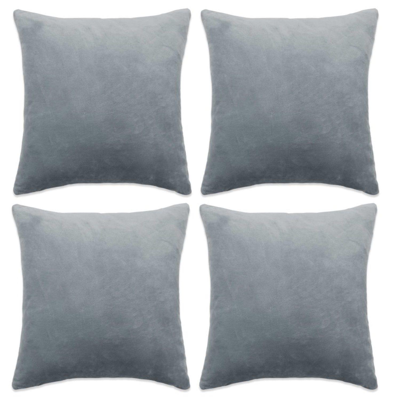 vidaXL Kuddfodral 4 st velour grå 80x80 cm (322937253) ᐈ vidaXL på ... ceb72bf6899d9