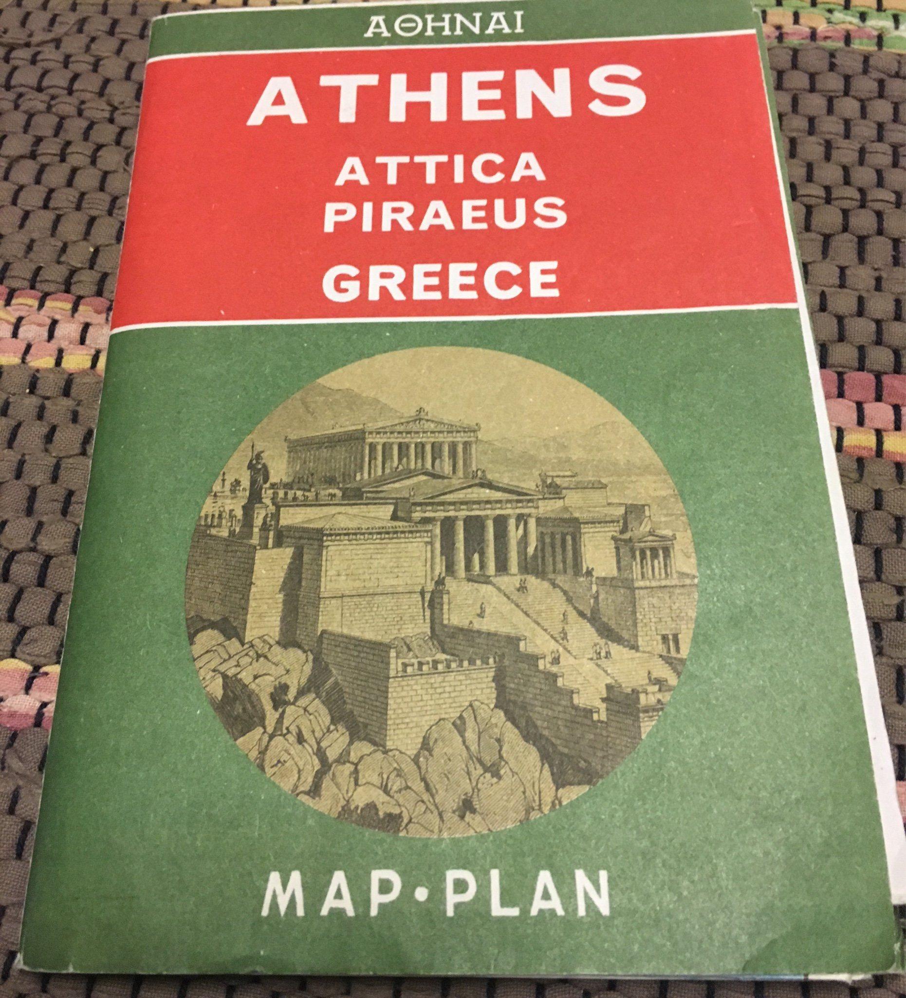 Karta Aten Grekland.Stadskarta Over Aten Grekland Retro 342075392 ᐈ Kop Pa Tradera