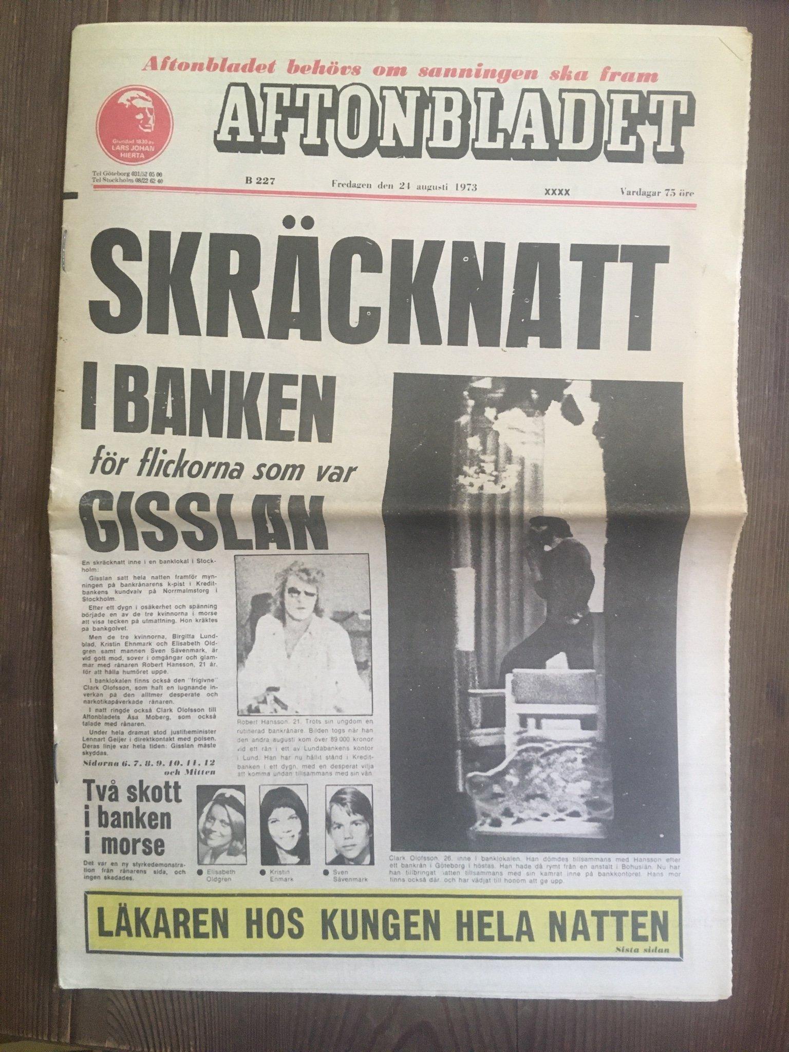 Aftonbladet 24 augusti 1973 Norrmalmstorgsdramat