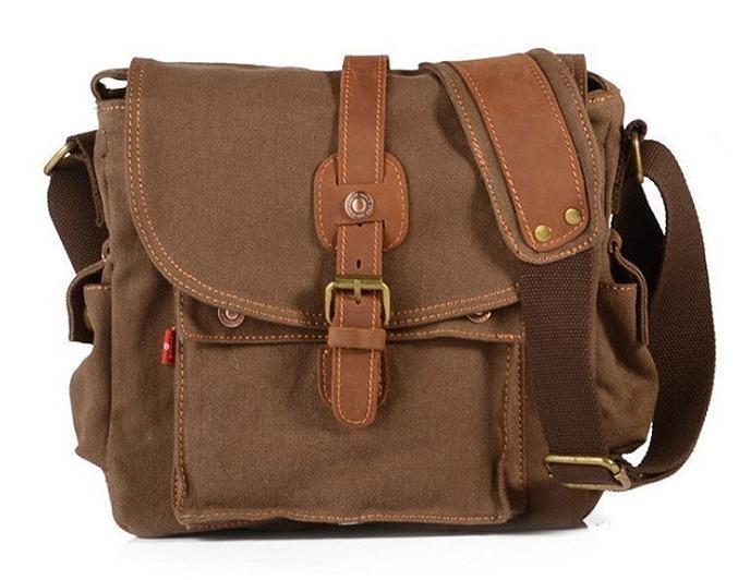 Läder + målarduk Messenger Bag