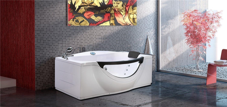 Bubbelbadkar hörn massagebadkar för 2 personer 180 x 196 cm - JUNGLE Simba
