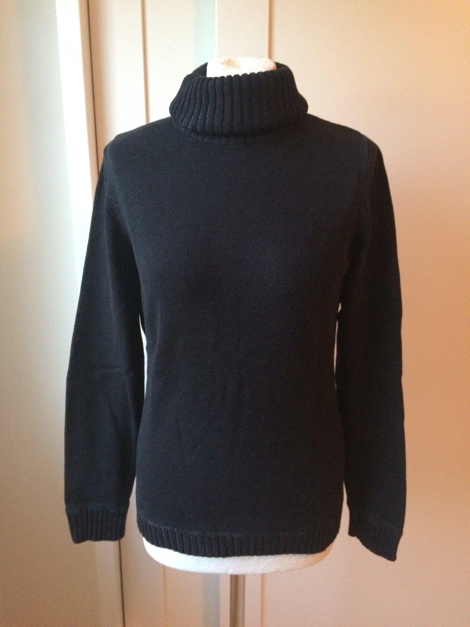Esprit svart stickad tröja tjocktröja polotröja tjej dam stl M