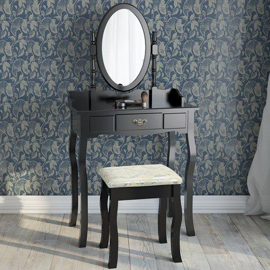 Sminkbord Med Låda Spegel Och Pall Antikstil Smink Ss2 Svart På