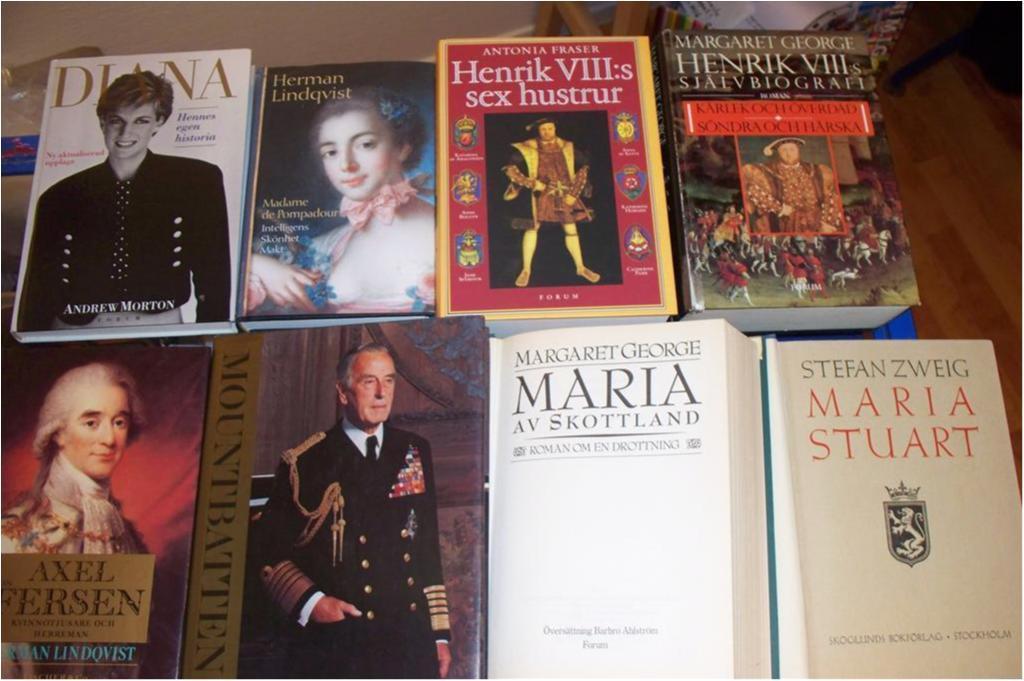 Kungligt, Maria Stuart, Henrik VIII, Axel von Fersen, Diana, Mountbatten mm