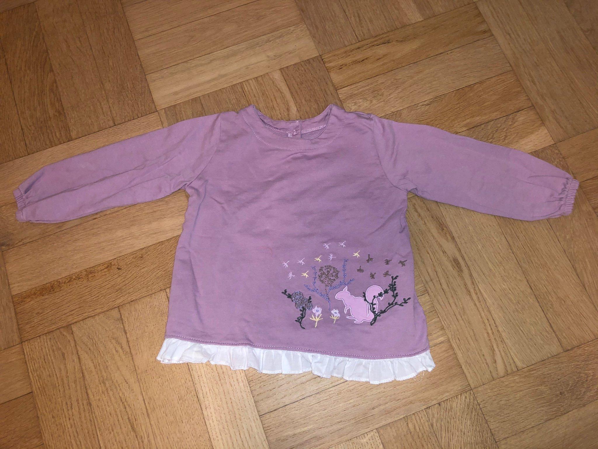 Lila tröja med spets stl 80