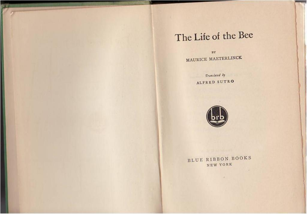 Bin, Biodling, Maurice Maeterlinck, The life of the bees