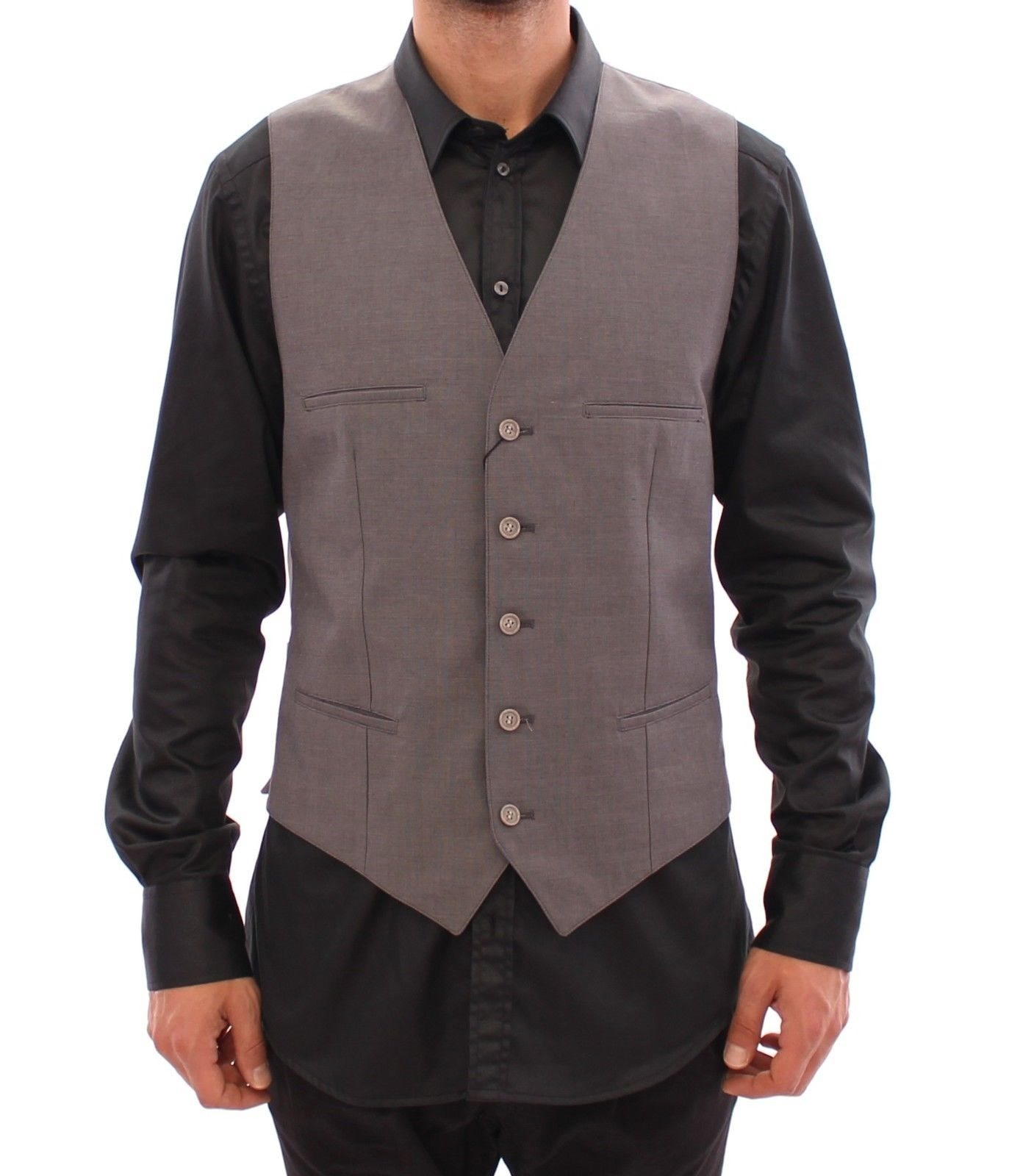 Dolce & Gabbana - Gray Cotton Slim Fit Button Front Dress Vest