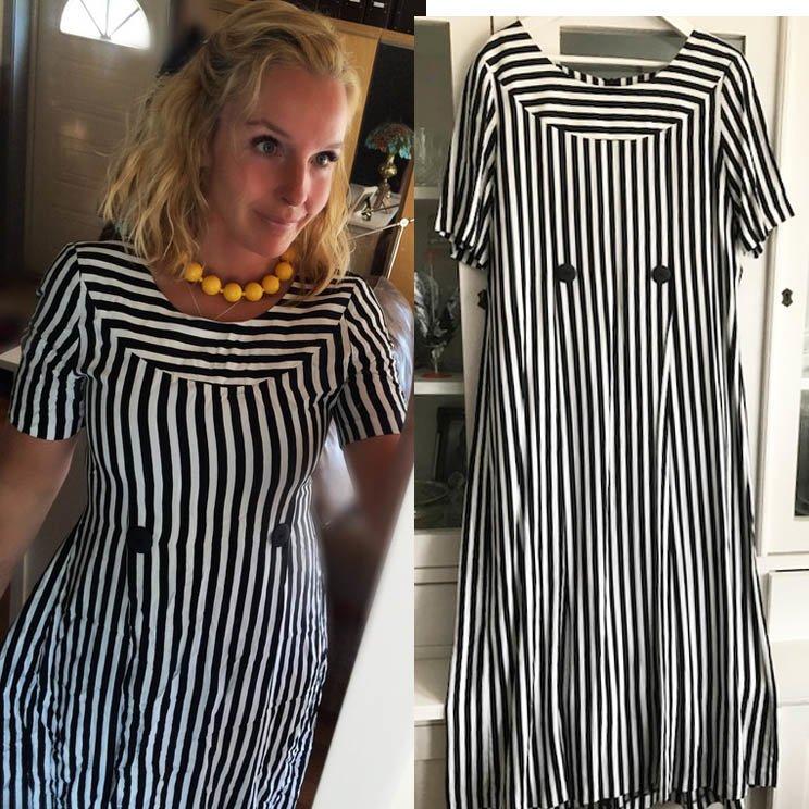 5328660ce155 Matisse svart vit randig långklänning retro vintage klänning 46 oversize 46  ...