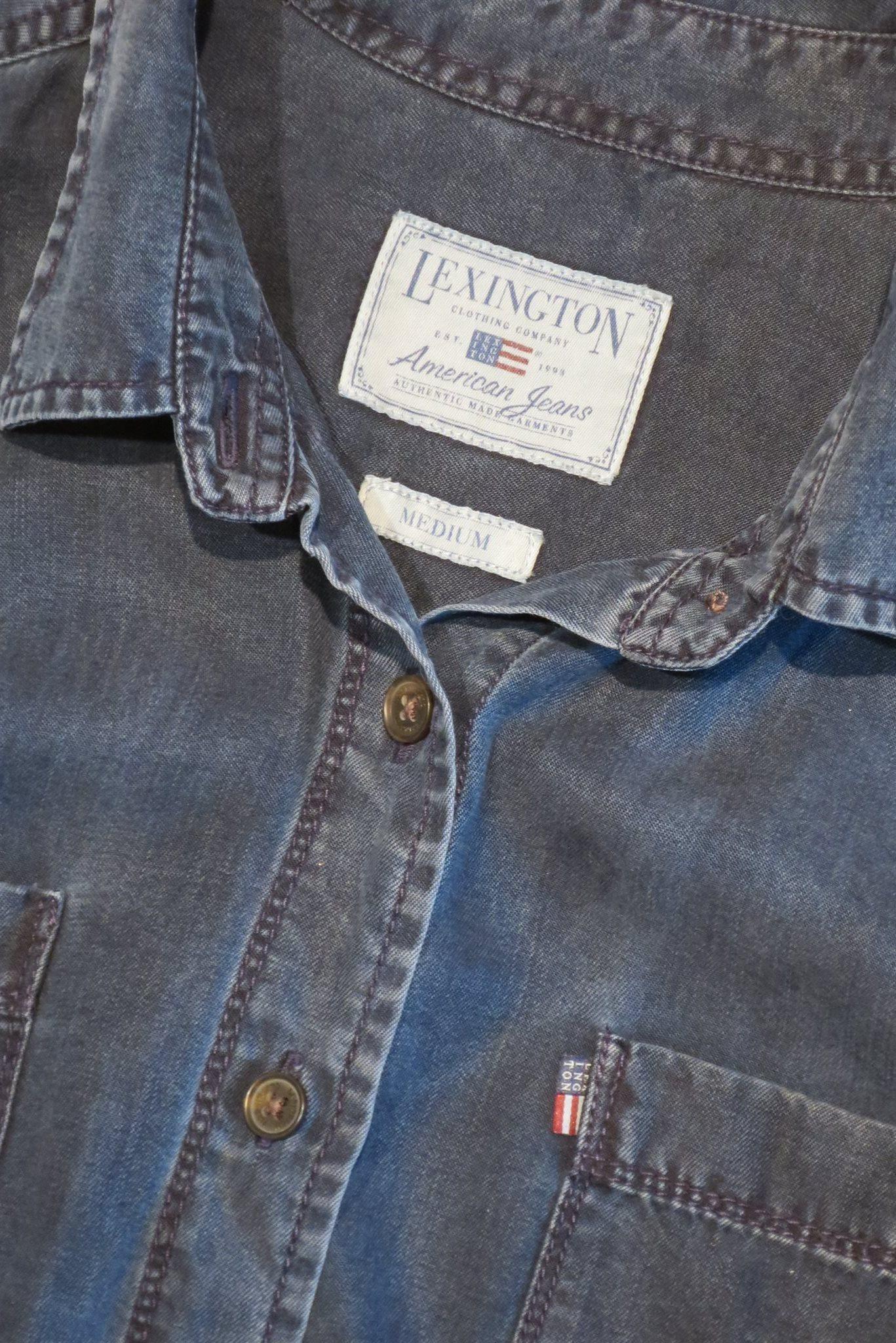 LEXINGTON blå skjorta  jeansskjorta med bröstfickor i vacker lyocell ... 314b992697064