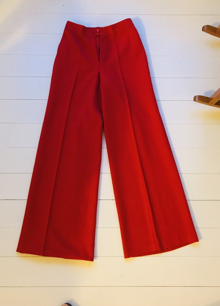 a7044fe8a33c Vintage byxor, röda, 70-tal, stl 36, hög midja,.. (346089078) ᐈ Köp ...