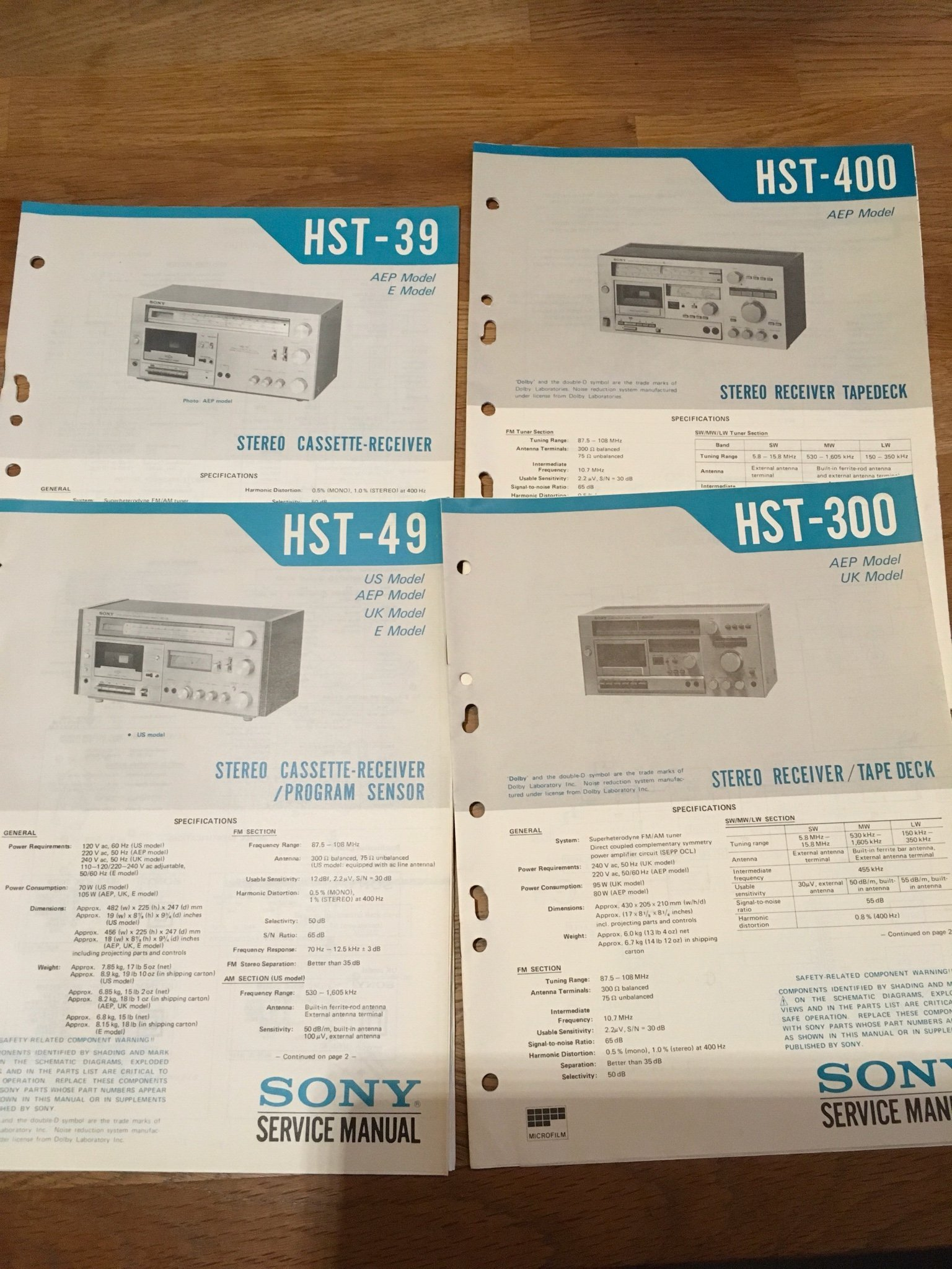 Service manualer. Sony Cassette-Receiver